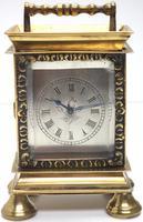 Rare Little Verge Carriage Clock Timepiece, Ormolu cased Silver Dial Mantel Clock (4 of 9)