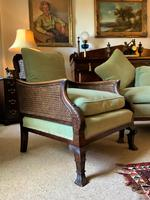 19th Century Antique Mahogany Upholstered 3 Piece Bergere Sofa Suite Armchairs Settee (7 of 15)