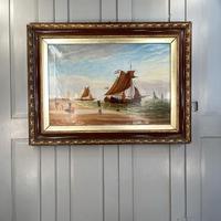 Antique Marine Seascape Coastal Oil Painting of Dutch Sailing Barges Signed J Witham 1898 (10 of 10)