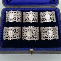 Early 20th Century Antique Edwardian Sterling Silver Set Six Napkin Rings London 1906 George Maudsley Jackson & David Fullerton (2 of 7)