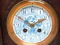 Fine Antique Arts & Crafts Mantel Clock – 8-day Carved Delftware Striking Mantle Clock (11 of 11)