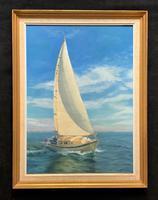 Fab Original 1970s Vintage Antique Seascape Oil Painting of a Retro Sailing Boat
