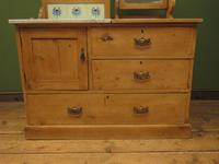 Antique Victorian Pine Washstand with Marble Top & Mirror, Adaptable Sink Unit (7 of 21)
