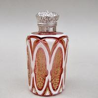 Fabulous Victorian Silver and Bohemian Overlay Cranberry Glass  Scent Bottle c.1890 (2 of 9)