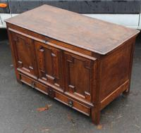 1850's Oak Coffer with Drawer at Base + Original Hinges (4 of 4)