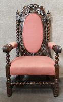 Pair of Victorian Jacobean Style Carved Oak Armchairs (6 of 12)