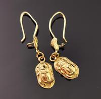 Vintage 18ct Gold Scarab Beetle Earrings, Dangly Earrings (9 of 10)