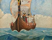 Unusual Original 19thc Seascape watercolour Painting - 11thc Vikings & Longboat (5 of 11)