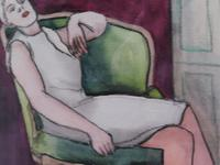 Pair of Watercolours Girl in the Chair Listed French Artist Janine Marca 1960s (6 of 10)
