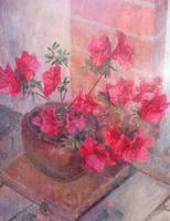 Oil on Board Azaelas in a Pot Listed Artist Richard Sorrell RWS