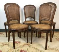 Antique French Set of 5 Bergère Cane Dining Chairs