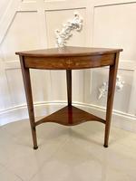 Antique Edwardian Inlaid Rosewood Corner Lamp Table