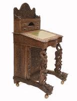 Burmese Davenport Desk Antique Hand Caved Burma Furniture 1885 (11 of 11)