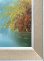Immaculate Large Original Mid-20thc Vintage Autumn River Landscape Oil Painting (10 of 11)