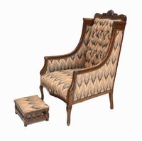 Pair of Victorian Salon Chairs Arm Club Chair Stools (4 of 15)