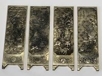 Antique Chinese Solid Silver Zu Yin Hallmarked Scroll Weight Plaques Guangxu (3 of 24)