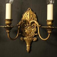 French Gilded Brass Twin Arm Antique Wall Lights (5 of 10)