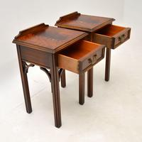 Pair of Antique Chippendale Style Mahogany Bedside Tables (10 of 12)