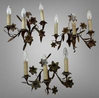 Vintage French Set of Three Wall Lights Sconces Rustic Gilt Bronze Lilies (2 of 10)