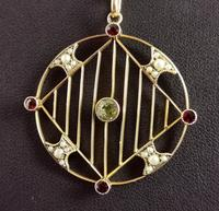 Antique Edwardian 9ct Gold Pendant, Peridot, Garnet and Pearl (8 of 10)