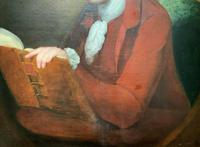 Magnificent Large Mid 18th Century Oil Portrait Painting of a Scholar Gent Reading (8 of 12)