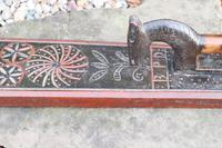 Scandinavian / Danish 'Folk Art' Horse handle mangle board with chip carving & original  black/red paint BPD c.1820 (5 of 19)
