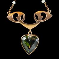 Antique Suffragette Heart Pendant Necklace 9ct Gold Rolason Brothers Dated 1912 (6 of 7)