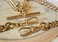 Victorian Pocket Watch Chain 1890 Antique 12ct Rose Rolled Gold Albert & T Bar (8 of 11)