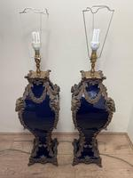 Pair of French Large Rams Heavy Bronze Blue Ceramic Table Lamps (35 of 46)