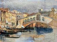 Large Early 1900s Venetian Venice Landscape Watercolour Study Sketch Painting (10 of 14)