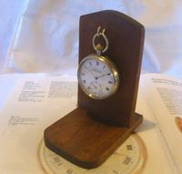 Vintage Wooden Pocket Watch Stand 1940s Dark Oak Robust & Sturdy (2 of 8)
