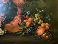 Dutch 18thc Manner RARE Huge Pair Vintage Fruit Floral Still Life Oil Paintings (11 of 23)