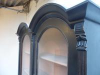 Trendy Art Deco Black 2 Door Pine Arched Glazed Kitchen Dresser (5 of 10)