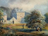 Fine 19th Century Regency Gilt Show-Framed Castle Landscape Watercolour Painting (14 of 14)