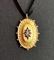 Victorian 9ct Gold Blue Enamel Pendant, Seed Pearl Star (9 of 10)
