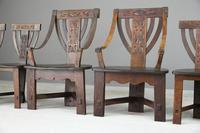 6 Arts & Crafts Carved Oak Chairs (7 of 12)