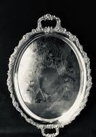 Victorian Silver Plated  Oval Two Handle Butlers Tray.