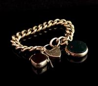 Antique 9ct Gold Curb Bracelet, Spinning Fobs (2 of 15)