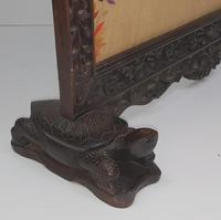 19th Century Chinese Mahogany Fire Screen with Silk Embroidered Panel (5 of 6)