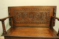 Antique Carved Oak Monks Bench Hall Seat Settle (7 of 11)