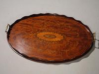 Beautiful Marquetry Inlaid Late 19th Century Oval Mahogany Tray (2 of 3)
