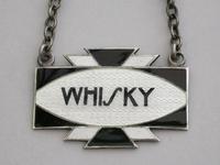 Pair of Art Deco Silver & Enamel Wine Labels 'Whisky & Brandy' by Turner & Simpson, Birmingham 1933 & 1939 (5 of 9)