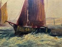 19thc (British School) Fishing Boats In Rough Seas Oil On Board Painting (4 of 13)