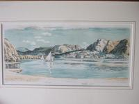 Leslie Moffat Ward RE (1888-1978):  rare l/e lithograph of Coniston Water, Lake District (2 of 5)