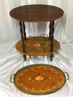 Italian Vintage 20th Century Marquetry Oval Champagne Drinks Server Trolley (2 of 14)