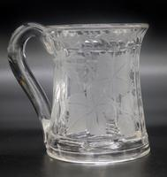 Good Engraved Glass Marriage Tankard with Vine Hops & Barley 19th Century (6 of 11)