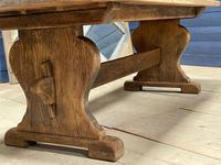 Larger French Bleached Oak Trestle Farmhouse Dining Table (4 of 21)