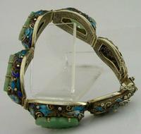 Superb Chinese Solid Silver Gilt Enamel & Jade Bracelet c.1920 Antique (7 of 12)