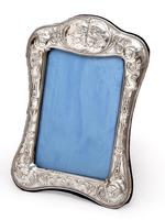 Victorian Silver Photo or Picture Frame Embossed with Reynolds Style Cherubs