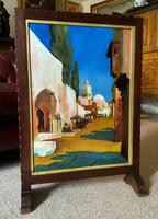 Augusta Coles Moroccan Cityscape Oil Painting Mahogany Fire Screen c.1911 (16 of 16)